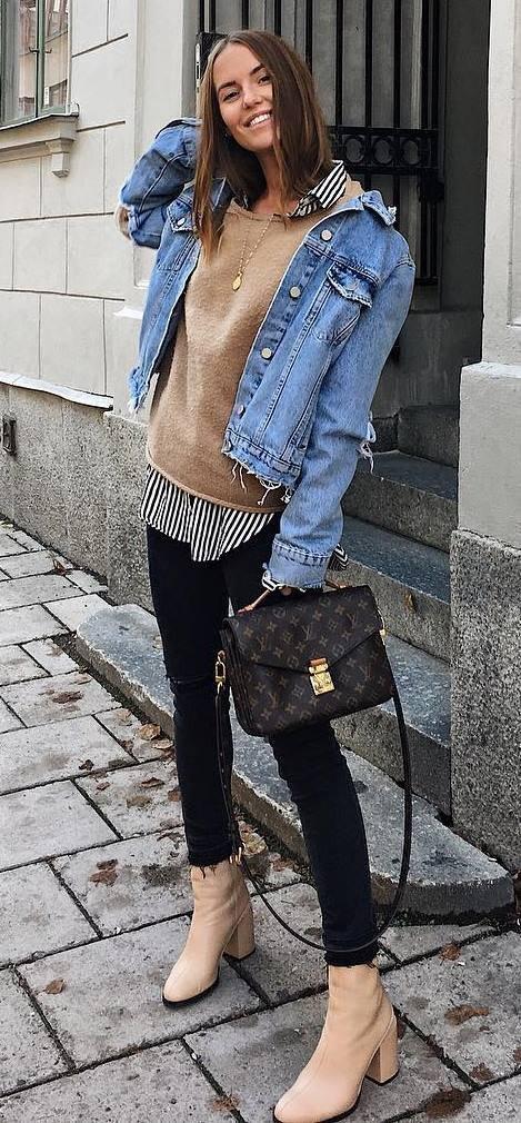black-skinny-jeans-tan-sweater-blue-med-jacket-jean-tan-shoe-booties-layer-black-collared-shirt-stripe-hairr-fall-winter-weekend.jpg
