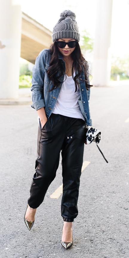 white-top-blue-med-jacket-jean-brun-sun-beanie-leather-black-joggers-pants-fall-winter-lunch.jpg