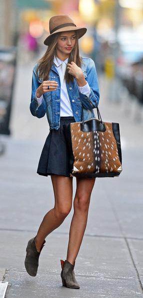 black-mini-skirt-white-collared-shirt-tan-bag-tote-wear-style-fashion-spring-summer-blue-med-jacket-jean-brown-shoe-booties-hat-mirandakerr-hairr-classic-lunch.jpg