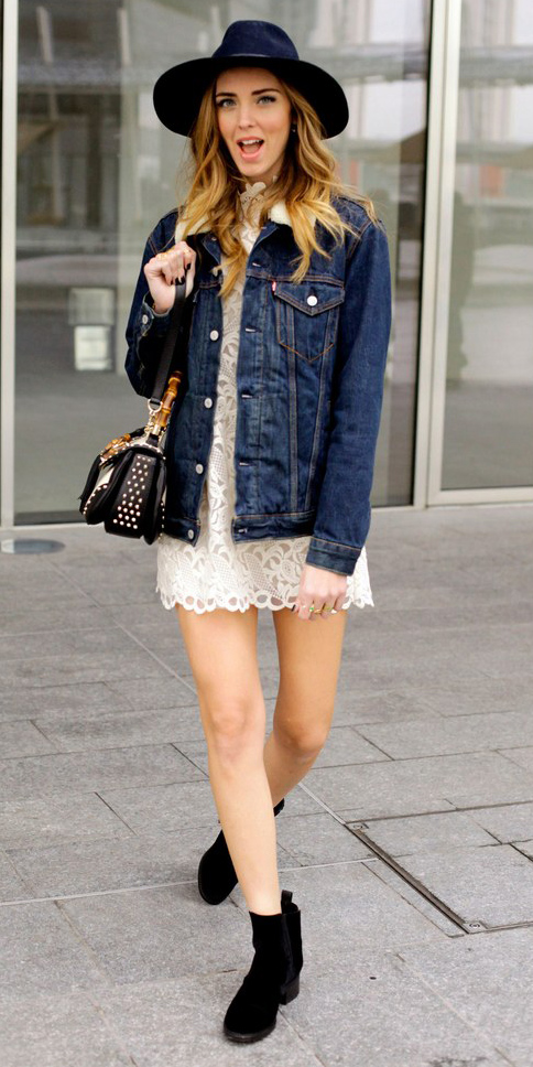 white-dress-mini-lace-blue-navy-jacket-jean-hat-blonde-black-shoe-booties-black-bag-fall-winter-weekend.jpg