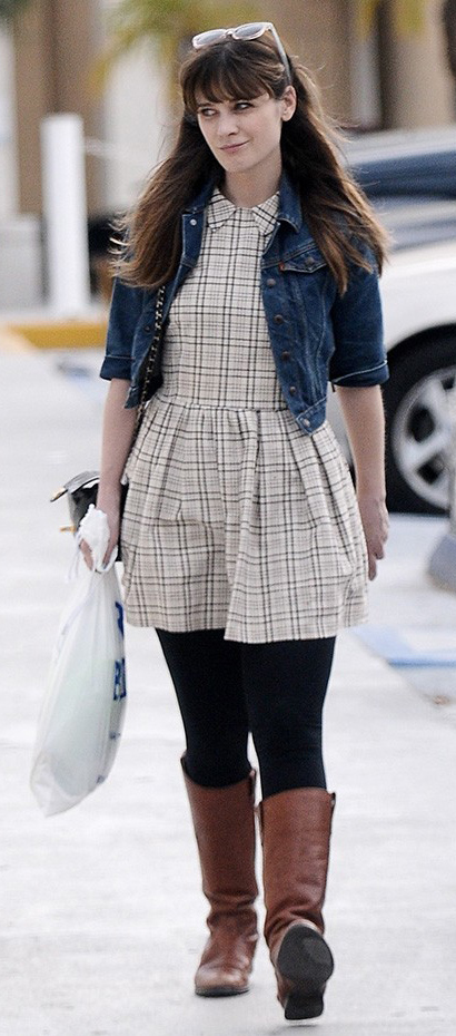 white-dress-black-leggings-mini-blue-navy-jacket-jean-cognac-shoe-boots-zooeydeschanel-brun-fall-winter-weekend.jpg