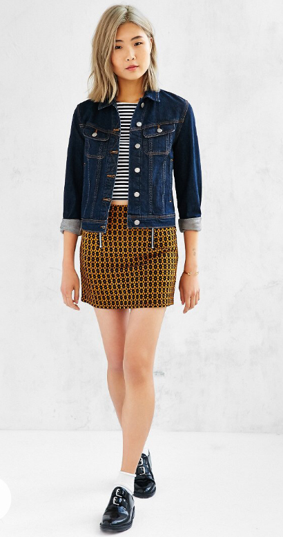 yellow-mini-skirt-black-tee-stripe-print-wear-style-fashion-spring-summer-blue-navy-jacket-jean-black-shoe-brogues-socks-blonde-lunch.jpg