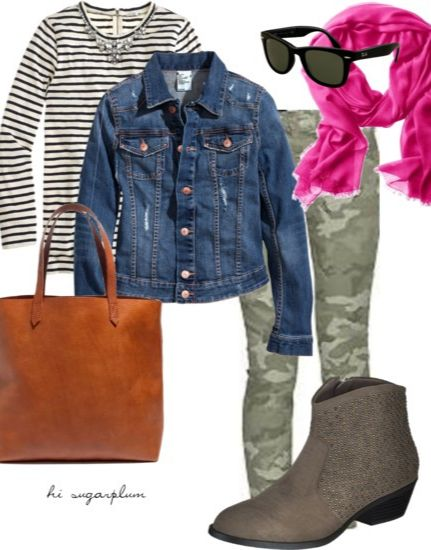 green-olive-skinny-jeans-camo-print-blue-navy-jacket-jean-pink-magenta-scarf-sun-cognac-bag-tote-black-tee-stripe-gray-shoe-booties-fall-winter-weekend.jpg