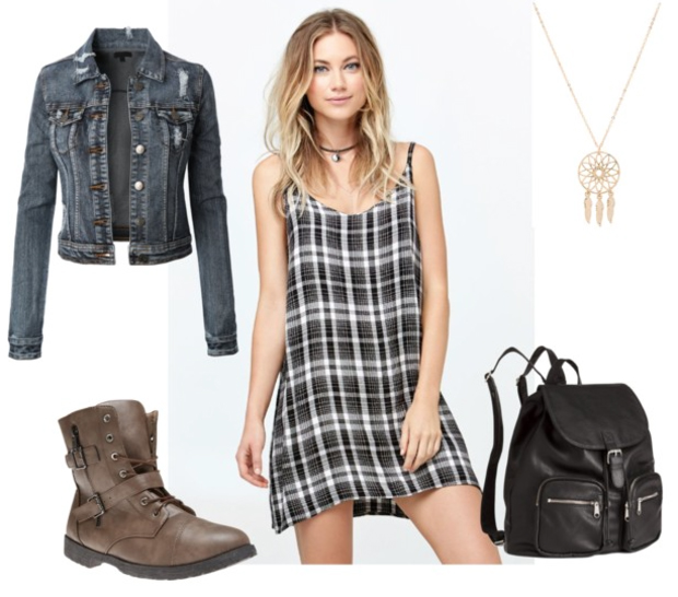 black-dress-print-plaid-blue-navy-jacket-jean-brown-shoe-booties-black-bag-pack-fall-winter-mini-necklace-pendant-blonde-weekend.jpg