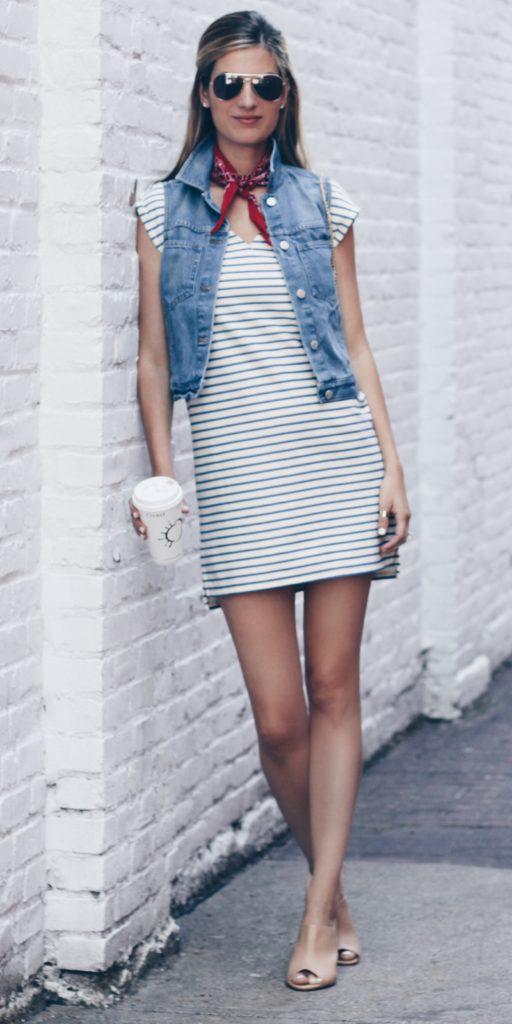 white-dress-tshirt-blue-light-vest-jean-red-scarf-neck-bandana-blonde-sun-tan-shoe-sandalh-mules-spring-summer-lunch.jpeg