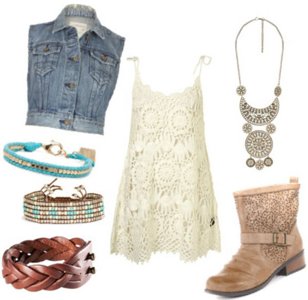 white-dress-blue-light-vest-jean-tan-shoe-booties-outfit-spring-summer-lace-tank-necklace-turquoise-bracelet-lunch.jpg