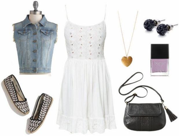 white-dress-blue-light-vest-jean-black-shoe-flats-black-bag-crossbody-nail-spring-summer-tank-studs-weekend.jpg
