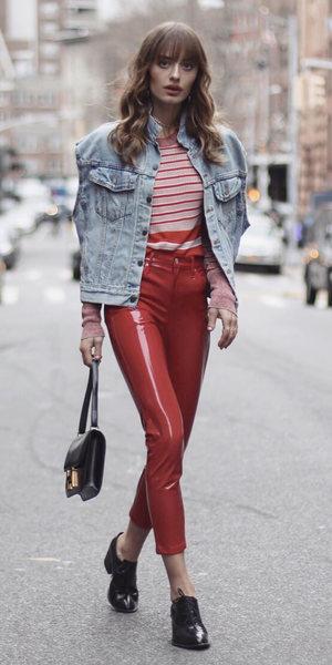 red-skinny-jeans-blue-light-vest-jean-red-sweater-stripe-hairr-black-shoe-brogues-fall-winter-lunch.jpg