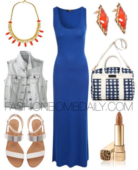 blue-navy-dress-maxi-blue-light-vest-jean-blue-bag-white-shoe-sandals-studs-bib-necklace-cobalt-howtowear-fashion-style-outfit-spring-summer-lunch.jpg