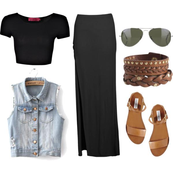 black-crop-top-blue-light-vest-jean-cognac-shoe-sandals-bracelet-sun-black-maxi-skirt-spring-summer-weekend.jpg
