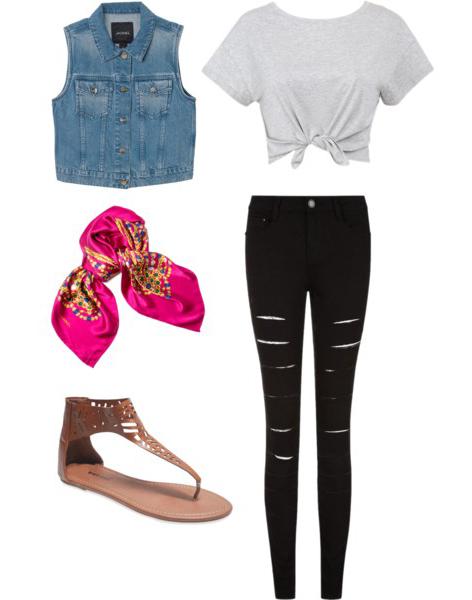 black-skinny-jeans-grayl-tee-crop-blue-light-vest-jean-pink-magenta-scarf-neck-brown-shoe-sandals-howtowear-fashion-style-outfit-spring-summer-weekend.jpg