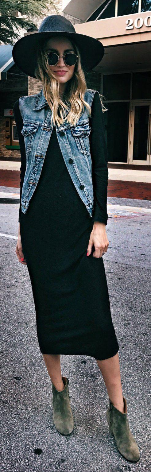 black-dress-midi-blue-light-vest-jeans-hat-sun-sweater-tan-shoe-booties-style-outfit-blonde-fall-winter-weekend.jpg