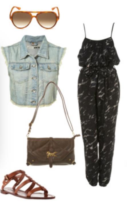 black-jumpsuit-blue-light-vest-jean-brown-shoe-sandals-sun-brown-bag-spring-summer-wear-fashion-style-weekend.jpg