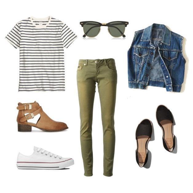 green-olive-skinny-jeans-black-tee-stripe-blue-med-vest-jean-cognac-shoe-booties-sun-howtowear-fashion-style-outfit-spring-summer-weekend.jpg