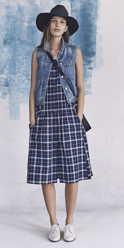 blue-navy-dress-tank-plaid-blue-med-vest-jean-black-bag-hat-hairr-white-shoe-brogues-spring-summer-weekend.jpg