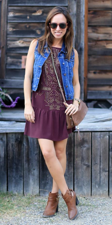 purple-royal-dress-mini-peasant-blue-med-vest-jean-brown-bag-brown-shoe-booties-hairr-sun-spring-summer-lunch.jpg