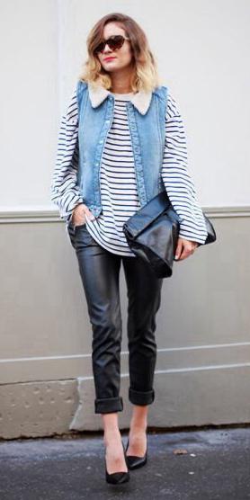 black-skinny-jeans-leather-white-sweater-stripe-blue-med-vest-jean-blonde-sun-black-shoe-pumps-fall-winter-lunch.jpg