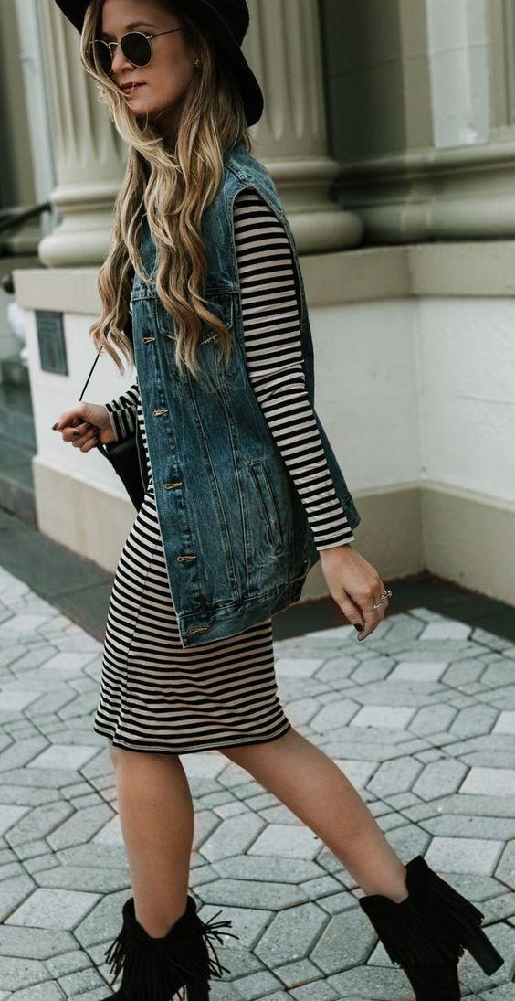 black-dress-tshirt-stripe-blue-med-vest-jean-blonde-sun-hat-black-shoe-booties-fall-winter-lunch.jpg