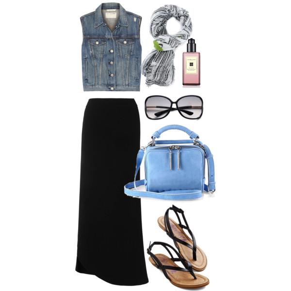 black-maxi-skirt-blue-med-vest-jean-blue-bag-white-scarf-print-sun-black-shoe-sandals-spring-summer-weekend.jpg