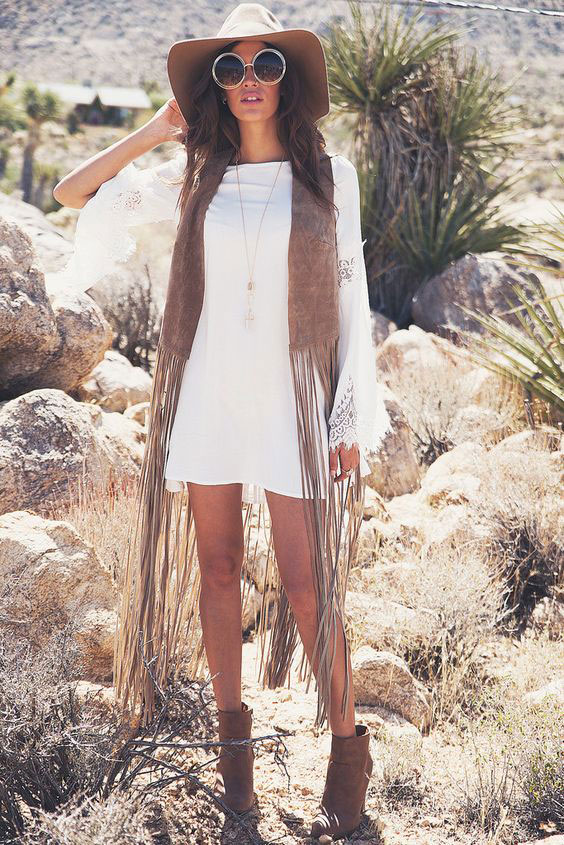 white-dress-mini-peasant-camel-vest-moto-hat-sun-hairr-cognac-shoe-booties-fringe-suede-spring-summer-lunch.jpg