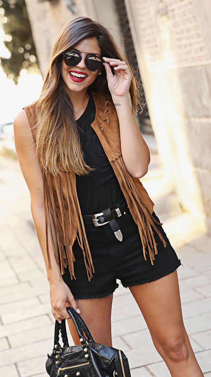 black-shorts-belt-fringe-camel-vest-moto-hairr-sun-black-tank-black-bag-spring-summer-weekend.jpg