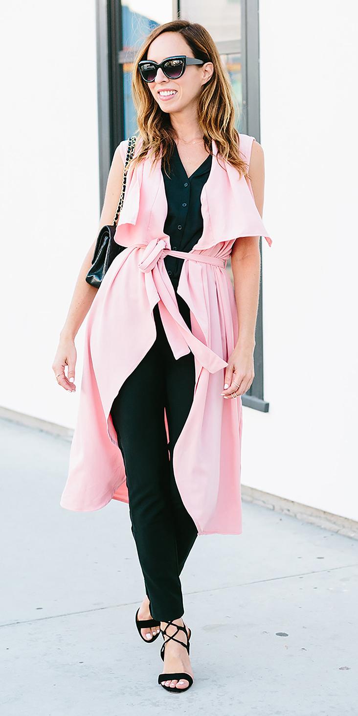 black-slim-pants-pink-light-vest-utility-trench-hairr-black-top-sun-black-shoe-sandalh-black-bag-spring-summer-lunch.jpg