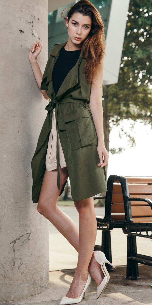 white-mini-skirt-white-shoe-pumps-hairr-green-olive-vest-utility-trench-spring-summer-lunch.jpg
