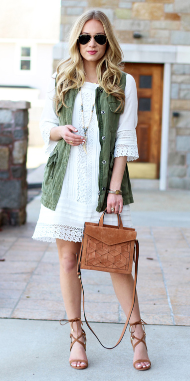 white-dress-peasant-aline-blonde-sun-cognac-bag-cognac-shoe-sandalh-green-olive-vest-utility-necklace-spring-summer-lunch.jpg