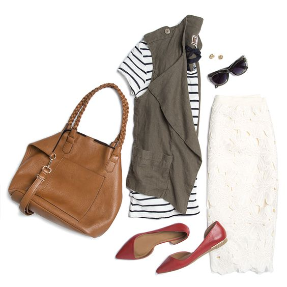 white-pencil-skirt-lace-red-shoe-flats-green-olive-vest-utility-black-tee-stripe-studs-sun-cognac-bag-spring-summer-weekend.jpg