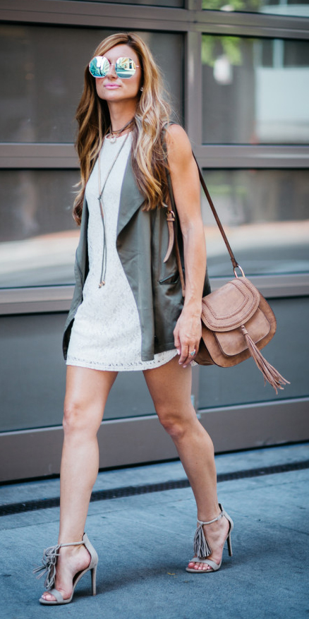 white-dress-mini-lace-necklace-sun-hairr-cognac-bag-gray-shoe-sandalh-green-olive-vest-utility-spring-summer-lunch.jpg