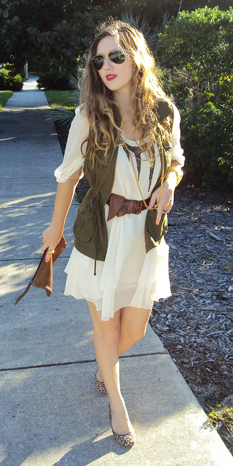 white-dress-peasant-belt-hairr-sun-tan-shoe-pumps-leopard-print-green-olive-vest-utility-spring-summer-lunch.JPG