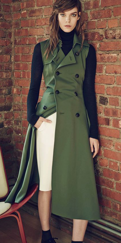white-pencil-skirt-black-sweater-turtleneck-hairr-green-olive-vest-utility-trench-fall-winter-lunch.jpg
