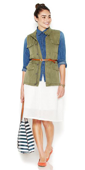 white-aline-skirt-blue-bag-stripe-blue-med-collared-shirt-belt-bun-orange-shoe-flats-green-olive-vest-utility-spring-summer-lunch.jpg