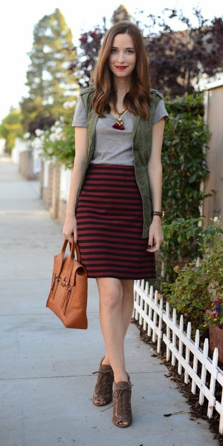 red-mini-skirt-stripe-cognac-bag-brown-shoe-booties-grayl-tee-necklace-pend-brun-green-olive-vest-utility-fall-winter-weekend.jpg