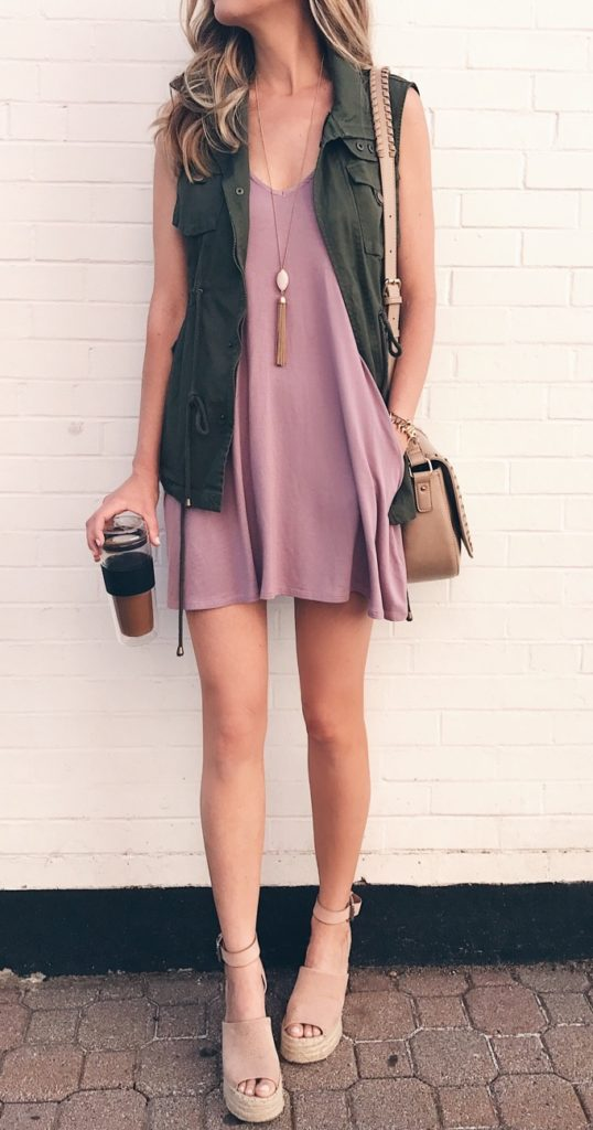 pink-light-dress-tank-slip-tan-bag-tan-shoe-sandalw-blonde-necklace-pend-green-olive-vest-utility-spring-summer-weekend.jpg