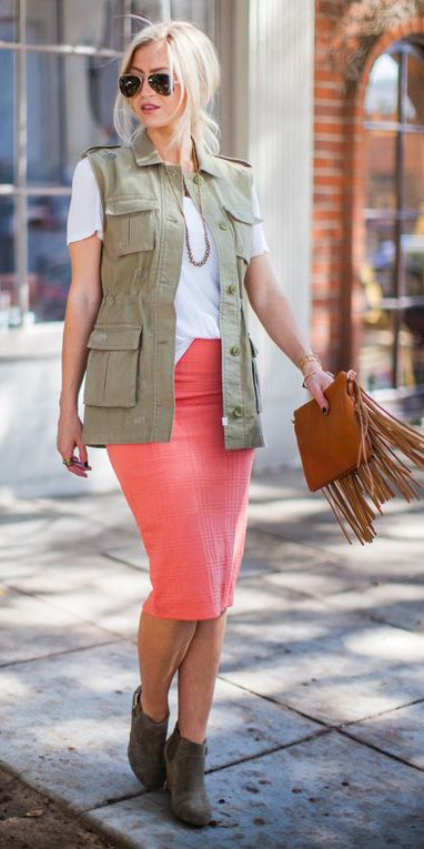 orange-pencil-skirt-white-tee-green-olive-vest-utility-blonde-bun-sun-cognac-bag-brown-shoe-booties-fall-winter-weekend.jpg