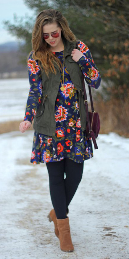 blue-navy-dress-mini-floral-print-purple-bag-hairr-sun-cognac-shoe-booties-green-olive-vest-utility-fall-winter-lunch.jpg