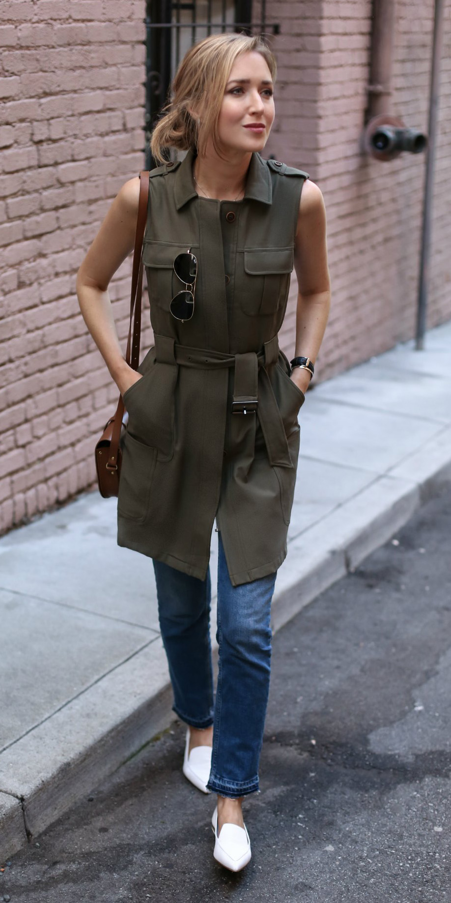 blue-med-skinny-jeans-green-olive-vest-utility-cargo-blonde-pony-brown-bag-white-shoe-loafers-spring-summer-lunch.jpg