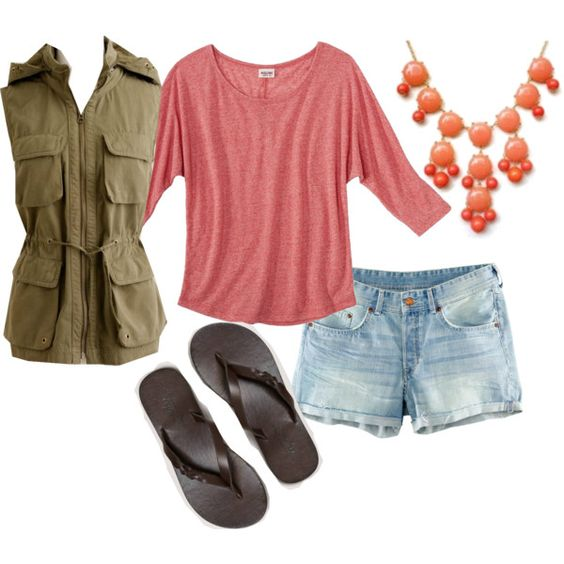 blue-light-shorts-peach-tee-bib-necklace-green-olive-vest-utility-brown-shoe-sandals-spring-summer-weekend.jpg