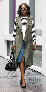blue-med-pencil-skirt-white-tee-stripe-black-bag-brun-bob-sun-black-shoe-pumps-green-olive-vest-utility-fall-winter-lunch.jpg