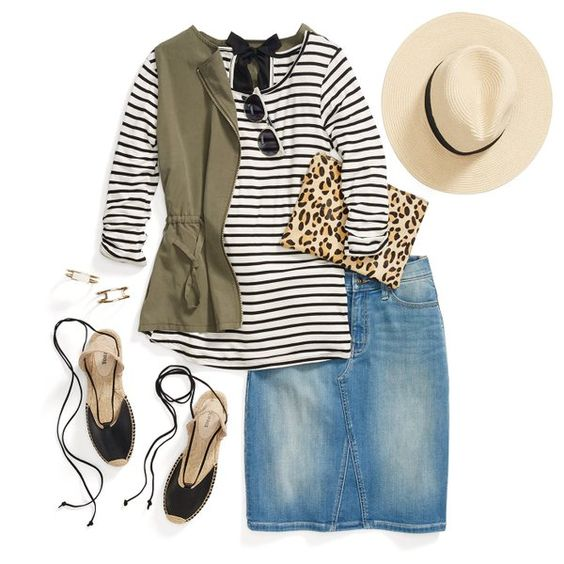 blue-med-pencil-skirt-denim-green-olive-vest-utility-black-tee-stripe-hat-panama-tan-bag-leopard-print-black-shoe-sandalw-spring-summer-lunch.jpg