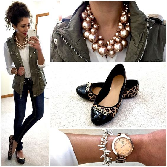 blue-navy-skinny-jeans-watch-black-shoe-flats-leopard-print-pony-necklace-green-olive-vest-utility-fall-winter-lunch.jpg