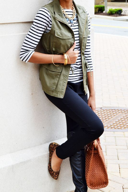 blue-navy-skinny-jeans-black-tee-stripe-bib-necklace-cognac-bag-cognac-shoe-flats-leopard-print-green-olive-vest-utility-fall-winter-lunch.jpg