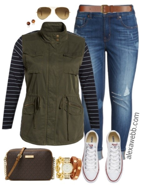 blue-med-skinny-jeans-blue-navy-tee-stripe-green-olive-vest-utility-sun-brown-bag-sun-white-shoe-sneakers-fall-winter-weekend.jpg