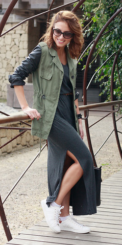 how-to-style-grayd-dress-maxi-white-shoe-sneakers-hairr-sun-green-olive-vest-utility-fall-winter-fashion-weekend.jpg