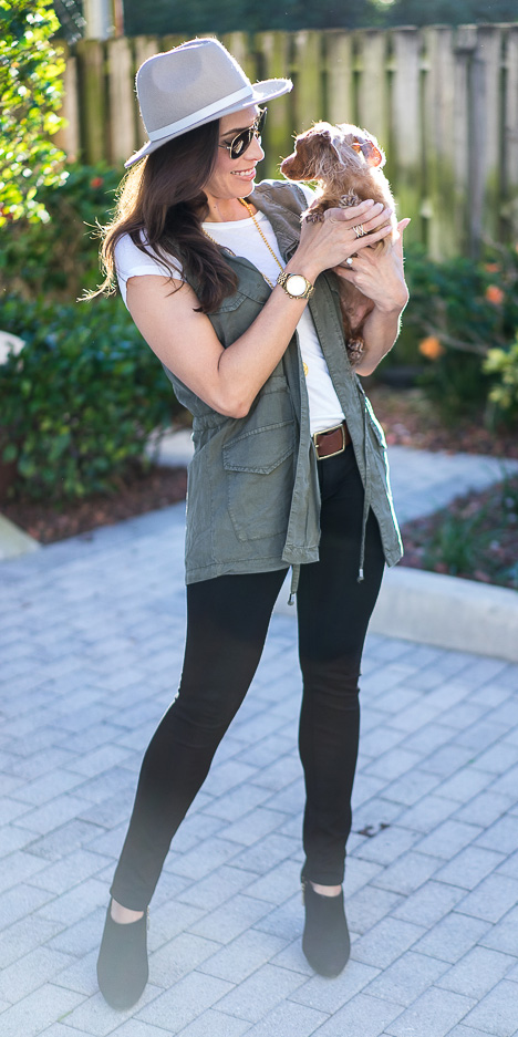 black-skinny-jeans-white-tee-hat-brun-belt-watch-black-shoe-booties-green-olive-vest-utility-fall-winter-weekend.jpg