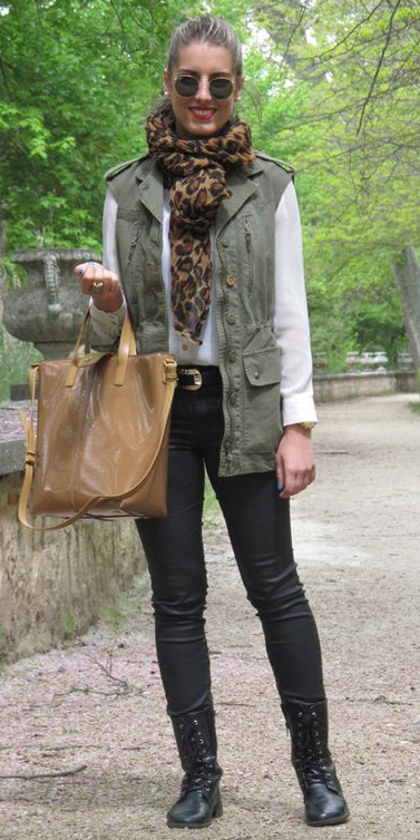 black-skinny-jeans-black-shoe-booties-brown-scarf-leopard-print-white-top-tan-bag-blonde-sun-green-olive-vest-utility-fall-winter-weekend.jpg