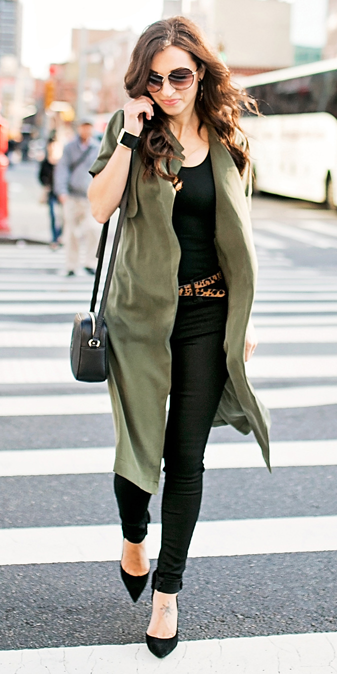 black-skinny-jeans-belt-leopard-print-black-tank-brun-sun-black-bag-black-shoe-pumps-green-olive-vest-utility-trench-fall-winter-lunch.jpg