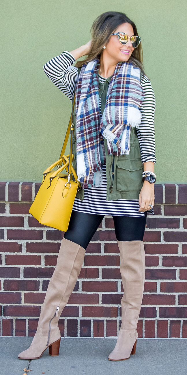 black-leggings-tan-shoe-boots-otk-yellow-bag-blue-med-scarf-plaid-layer-green-olive-vest-utility-hairr-sun-fall-winter-weekend.jpg