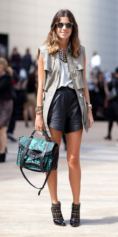black-shorts-bib-necklace-hairr-green-bag-black-shoe-booties-green-olive-vest-utility-fall-winter-lunch.jpg